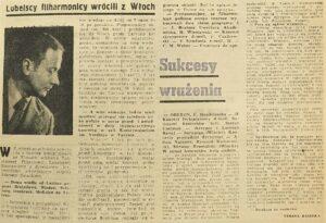 zdjęcie z gazety, lubelscy filharmonicy wrócili z włoch