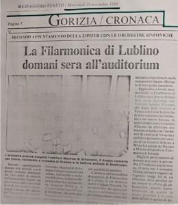 zdjęcie z gazety, koncert orkiestry filharmonii lubelskiej we włoszech