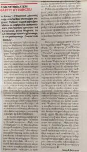 zdjęcie z gazety, recenzja koncertu w filharmonii lubelskiej