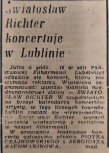 zdjęcie z gazety, światosław richter w lublinie