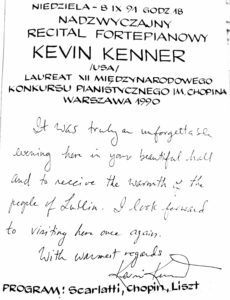 Wpis do księgi gości nadzwyczajnego recitalu fortepianowego 8 września 1991 roku Kevina Kenner – pianisty, solisty.