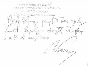 Wpis do księgi gości koncertu symfonicznego 23 listopada 1996 roku Jana Krenza – dyrygenta koncertu.
