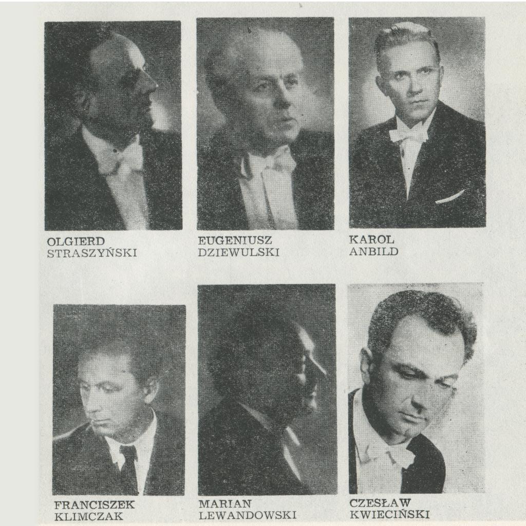 Byli Dyrektorzy, od góry Olgierd Straszyński, Eugeniusz Dziewulski, Karol Anbild, Frańciszek Klimczak, Marian Lewandowski, Czesław Kwiecińśki