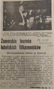 zdjęcie z gazety, koncert orkiestry filharmonii lubelskiej w szwecji