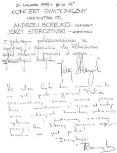 Wpis do księgi gości koncertu symfonicznego 24 listopada 1995 roku Jerzego Sterczyńskiego – pianisty, solisty koncertu oraz Andrzeja Borejko – dyrygenta koncertu.