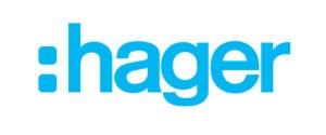 logo firmy hager, niebieski napis na białym tle