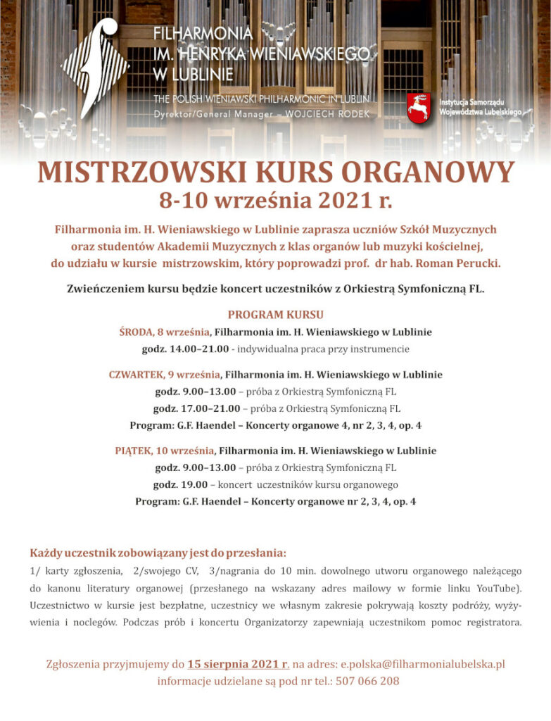 plakat kursu organowegoo